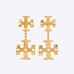 Tory Burch earrings logo gold pendant earr…